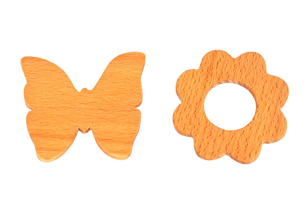 Thasvi Wooden Teethers Set 1 (3 months +) - Touch. Feel. Explore.