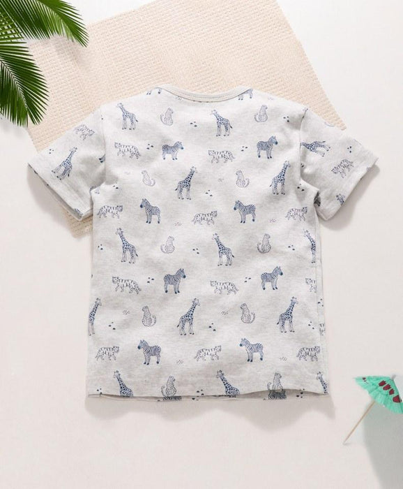 Royal Brats T-shirts White Base with a Blue Animals Print