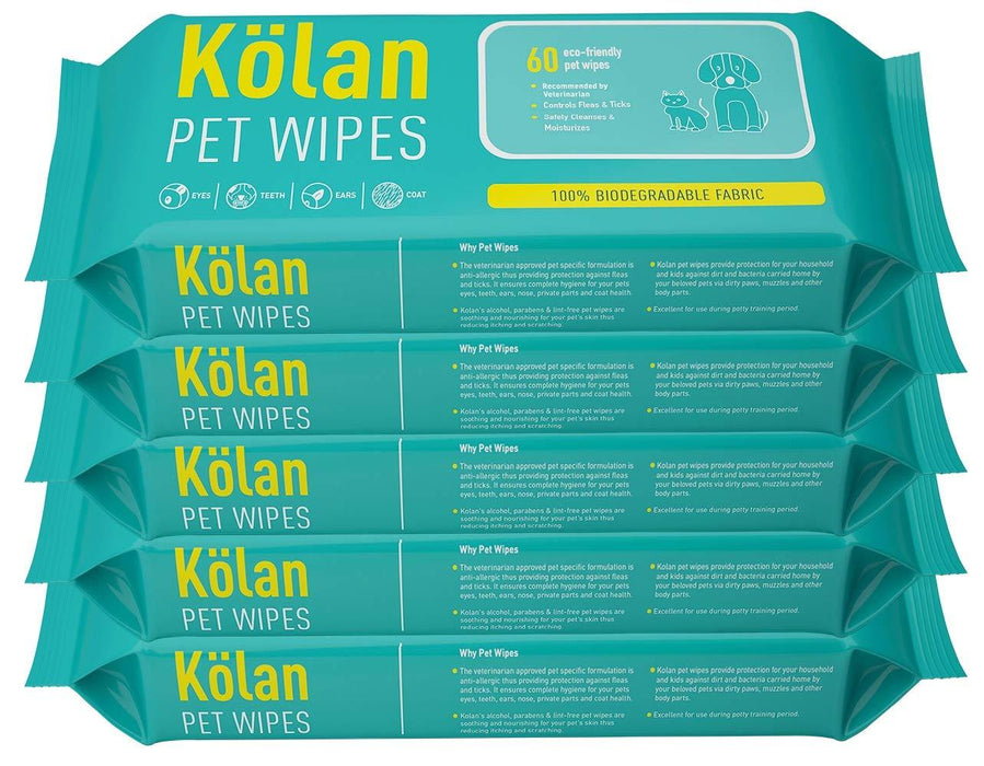 Kolan Pet Wipes/Grooming Wipes for Dogs, Cats, 60 Count