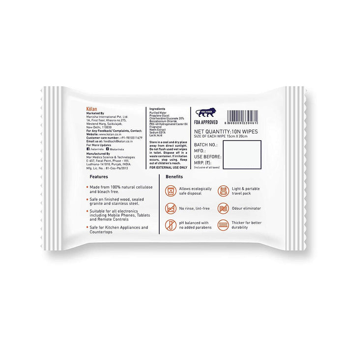Kolan Eco Friendly Sanitizing Wipes for Hand & Surfaces (Pack of 10)