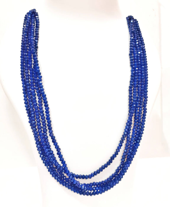 Beads N Threads -Stunning, Royal Blue Crystal Stone 5 layer necklace for Women and Ladies.