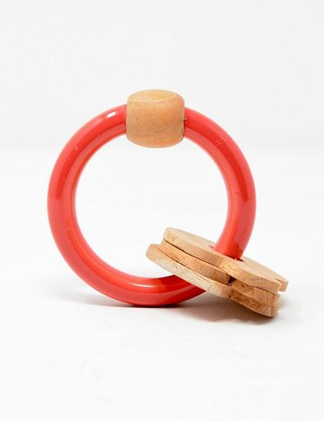 Circular Rattle With Mushrooms – Red