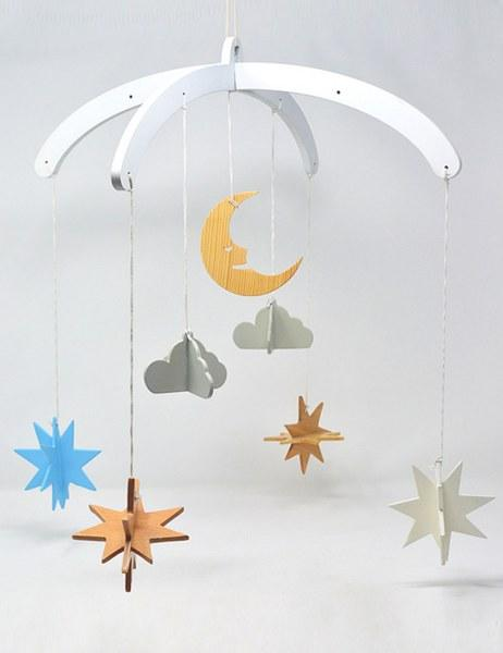 Wooden Mobile -  Night Sky