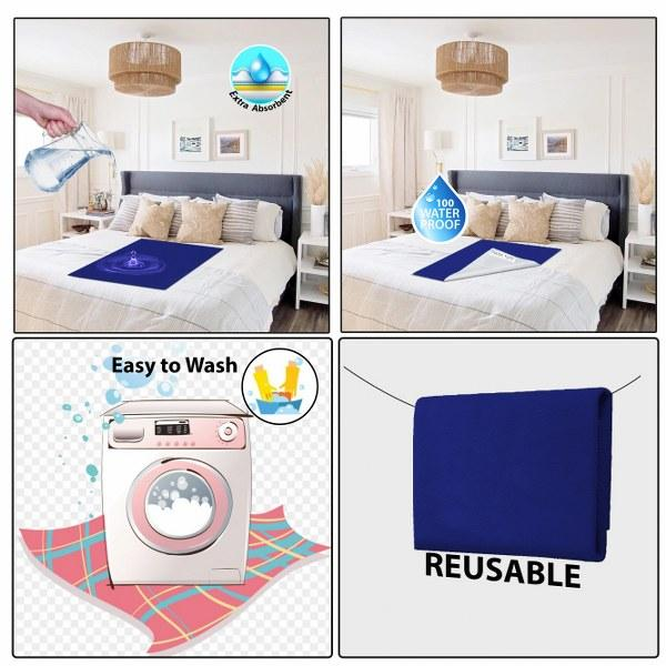 Baby Mat Bed Protector Waterproof Sheet Reusable Absorbent Dry Sheet (Dark Blue, Large, 100 x 140 cm)