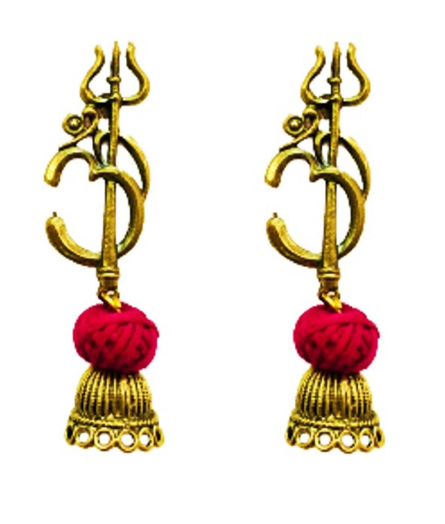 Shivji ka OM Earrings [ Length= Medium, Colour = Golden] [ Handcrafted by local artisans of India]