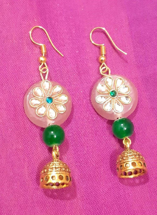 Beads N Threads - Pinkish Kundan stone with Green Agate Beads and Golden jhumka droping