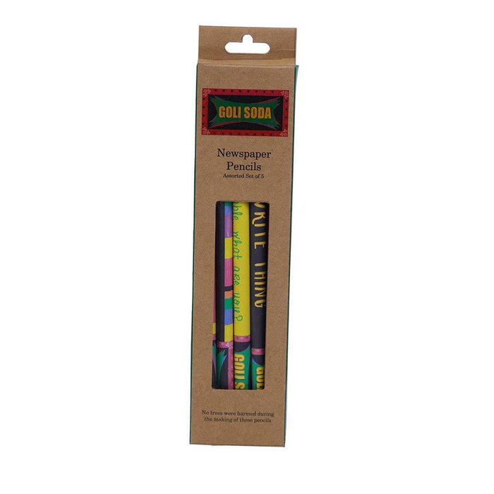 Upcycled Multicolor Newspaper Pencils (Pack of 20)