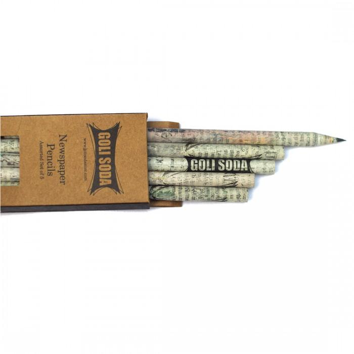 Upcycled Plain Newspaper Pencils (Pack of 5)