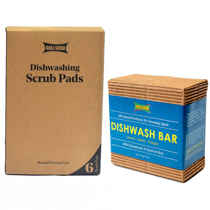 Coconut Coir Scrub And Probiotic Dishwash Bar - Exclusive Combo