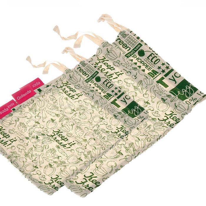 Keep it Fresh & Go Green Reusable Cotton Vegetable Bag Combo - 2 Small + 2 Big (Pack Of 4 )