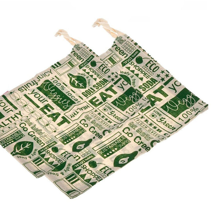 Go Green Reusable Cotton Vegetable Bag Combo - 2 Small + 2 Big (Pack Of 4)