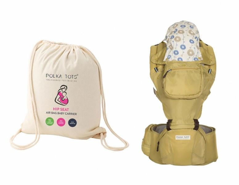 Ergonomic Baby Hip Seat 6 in 1 Baby Carrier with Airbag Seat Highly Suitable for C Section Mothers, with Trendy Carry Bag (Cream)