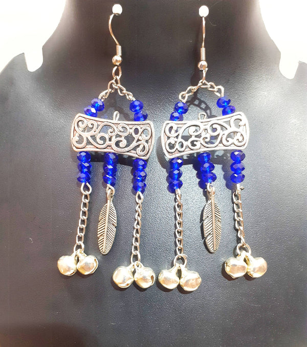 Beads N Threads - RoyalBlue Crystal Earrings with German Silver Charms , Chains and bells