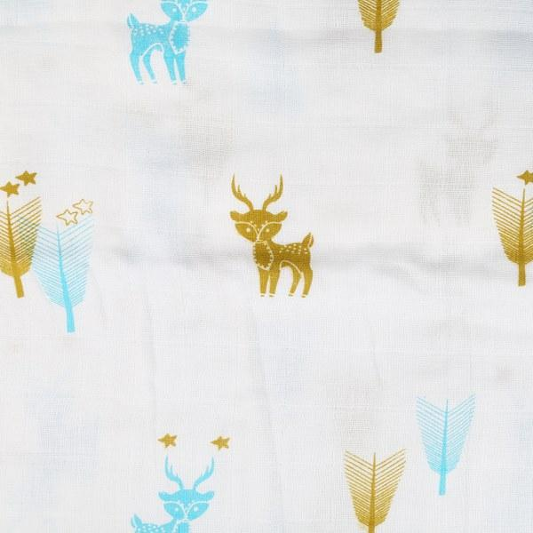 Organic Muslin Cotton Swaddle Baby Wrap/Blanket Large Size (Reindeer)