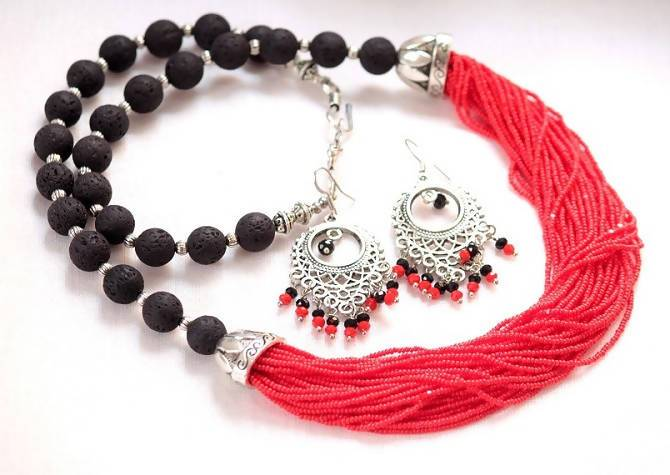 Beautiful Black Lava and Red Seed Beads Necklace