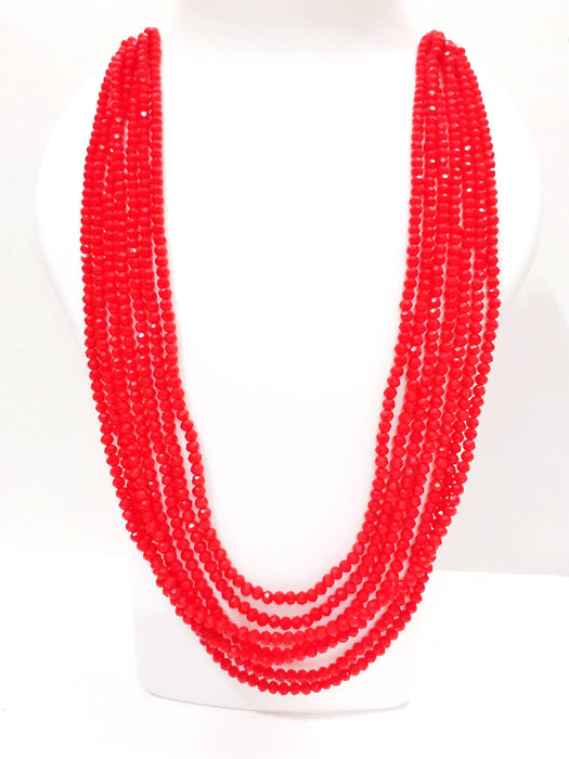 Beads N Threads -Stunning,Shinning Red Crystal Stone 7 layer necklace for Women and Ladies.