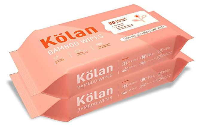 Kolan Eco-Friendly Bamboo Baby Wipes with Olive Oil, Aloe Vera & Jojoba Oil (Hygiene Cleaner)