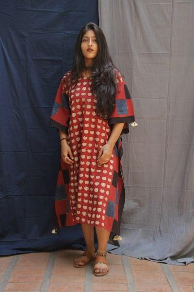 Rust Eyes Print Kaftan