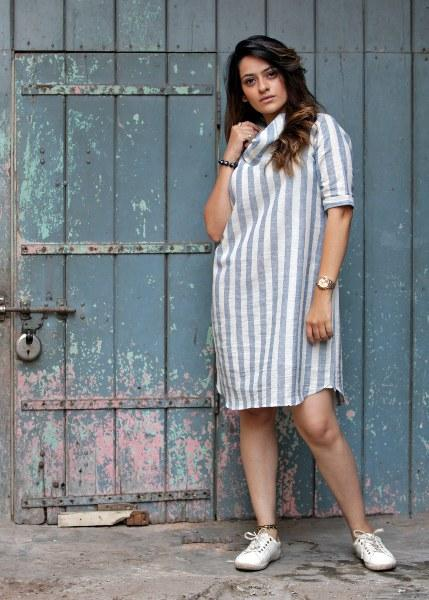 Cowl Neck Indigo Stripe Linen Short Dress