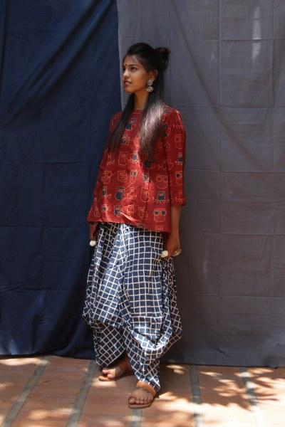 Rust Owl Print Boat Curve Top with Indigo Checks Dhoti Skirt