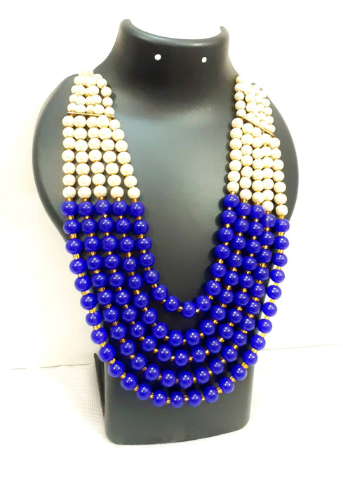 Beads N Threads - Stunning and Beautiful 5 Layer Pearls and Royal Blue Beads Necklace for Women and Girls