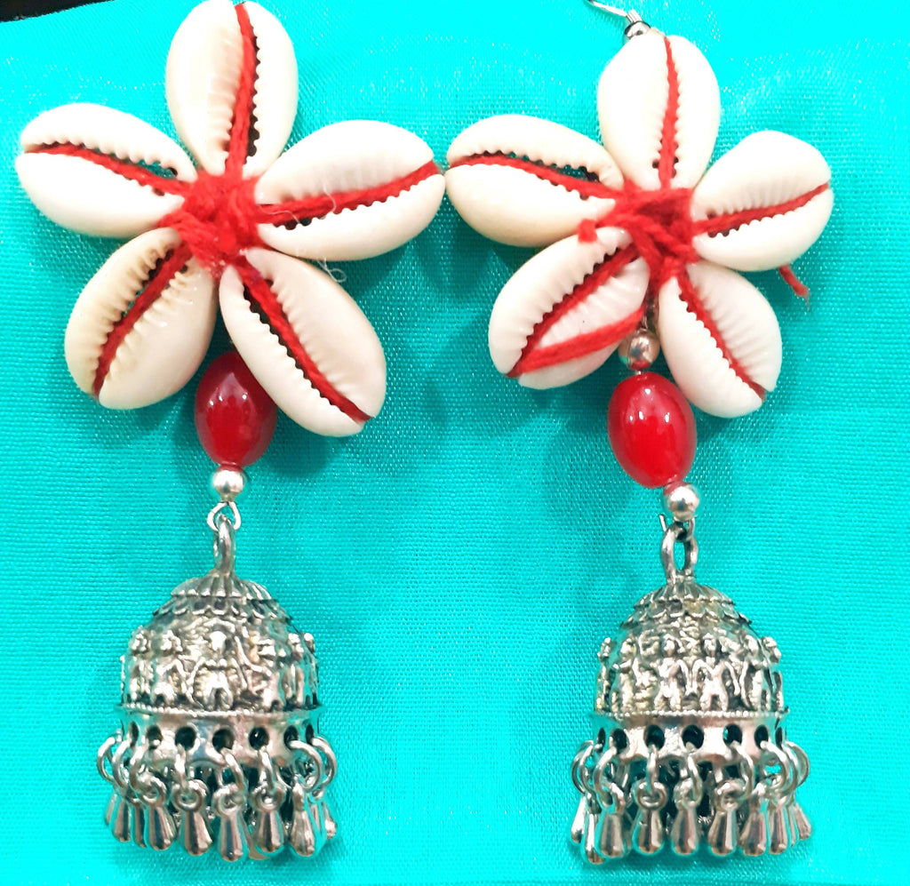Mermaid Collections : Handcrafted Cowrie Earrings with Jhumka