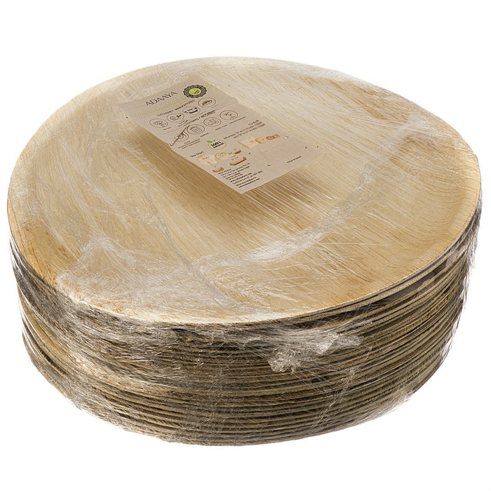 Adaaya Farms Natural Palm Leaf Deep Round Plates - 12 Inches (Pack of 25)