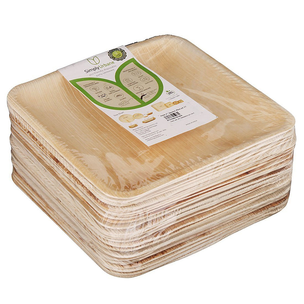 Adaaya Farms Natural Palm Leaf Square Plates - 8 Inches (Pack of 25)