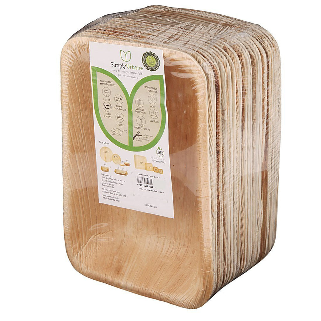 Adaaya Farms Natural Palm Leaf Rectangle Deep Trays - 9 Inches (Pack of 25)