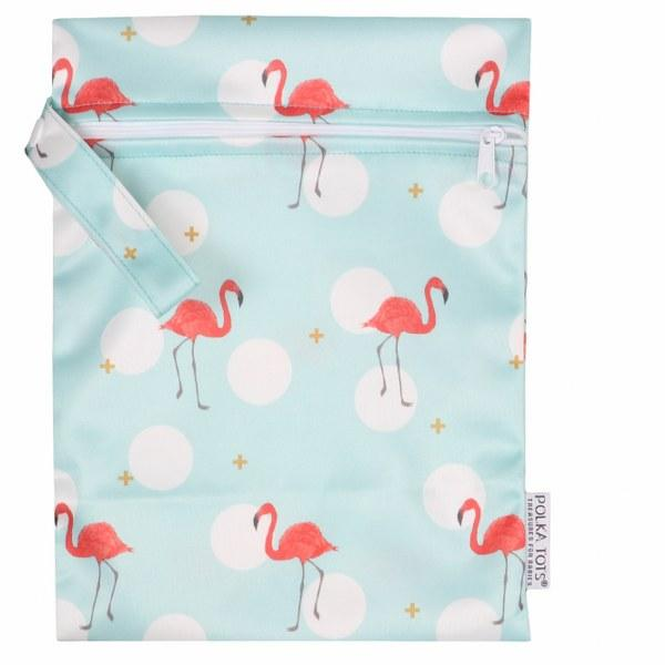 Wet Bag Pouch with Zipper Resusable Diaper Bag Organizer Pouch (Flamingo)
