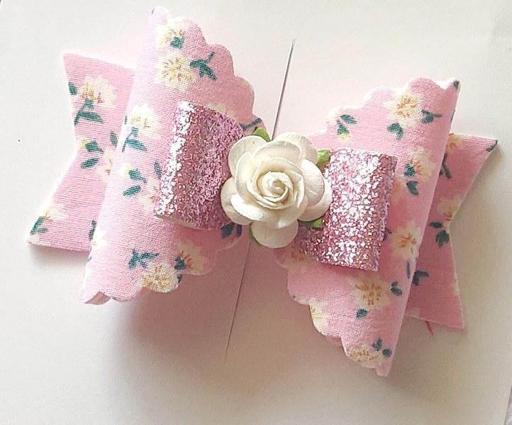 Floral Magic Bow Clip - Baby Pink