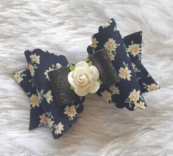 Floral Magic Bow Clip - Navy Blue