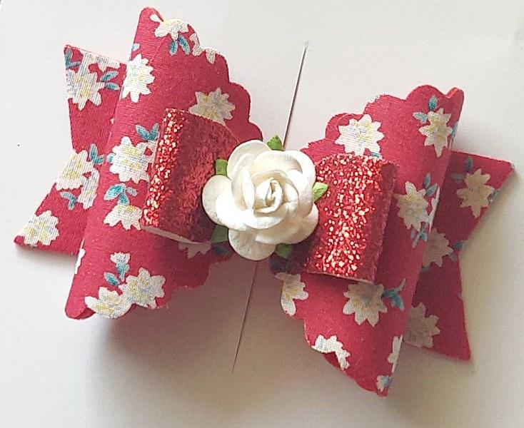 Floral Magic Bow Clip - Red
