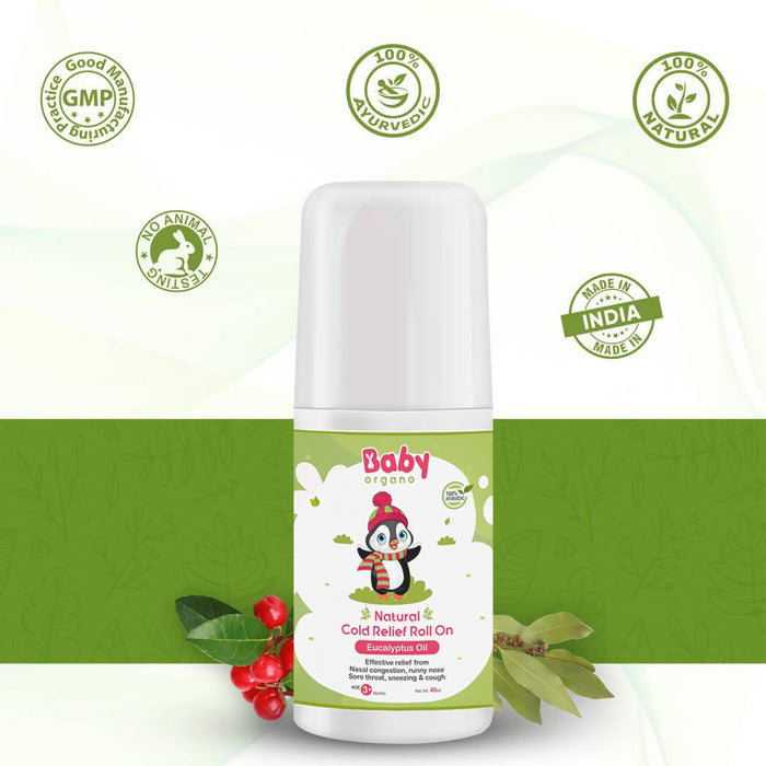 BabyOrgano Natural Cold Relief Roll-on for Cold, Cough, Nose Block and Chest Congestion in Kids