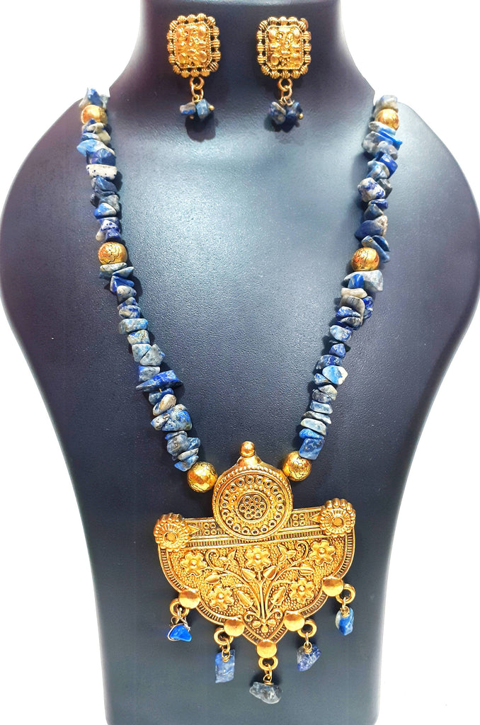 Beads N Threads - Blue and Deep Blue Stone Chip Beads Stunning Necklace and Earrings Set for Women and Girls.