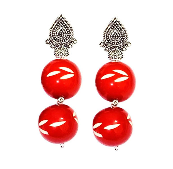 Handcrafted Beautiful Red Beads Earrings