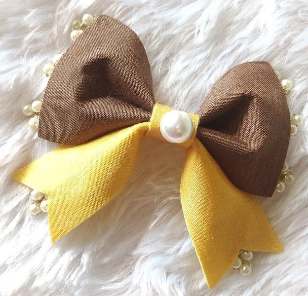 Pearl Beauty Bow Clip - Brown and Yellow