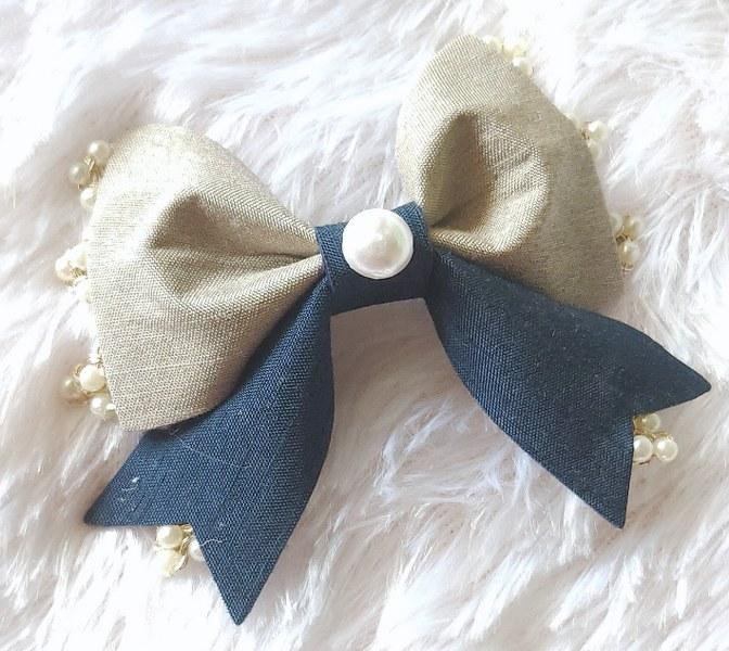 Pearl Beauty Bow Clip - Grey and Navy Blue