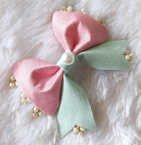 Pearl Beauty Bow Clip - Pink and Blue