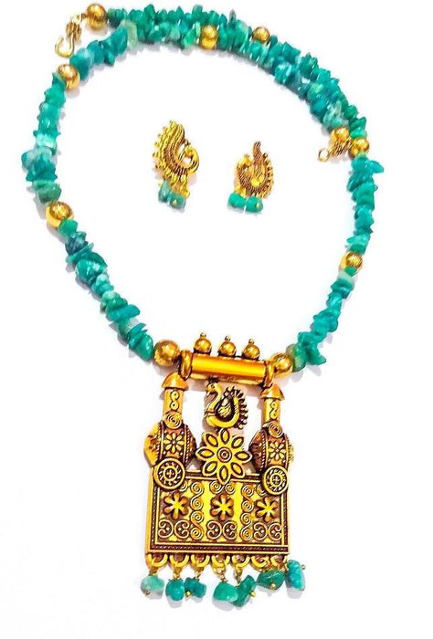 Beads N Threads - Bluish Green Stone Chip Beads Stunning Necklace and Earrings Set for Women and Girls.