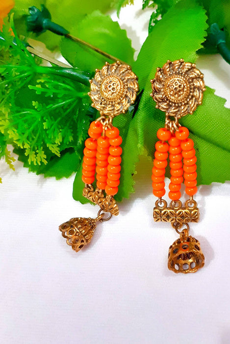 Handcrafted Beautiful Orange Beads Earrings