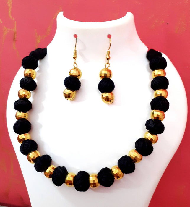 Beads N Threads - Golden Beads with Cotton Black Beads Necklace Set.