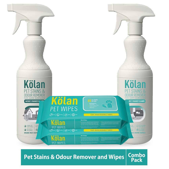 Kolan Organic Eco-Friendly Pet Stains & Odour Remover || for Hard & Soft Surfaces || - (Combo Pack)