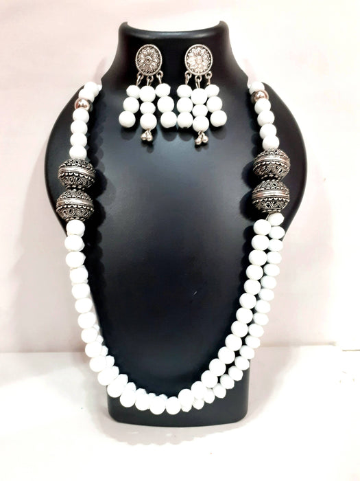 Beads N Threads - White Crystals and Agate Beads Necklace and Earrings for Women and Girls