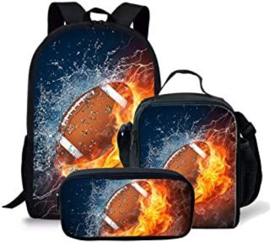 Flame Football Pattern Kids bags