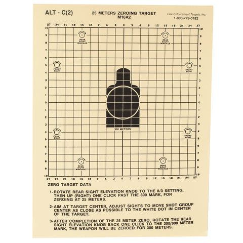"Image of Action Target 25-Meter M16A2 Zeroing Target 8.75""X11.5"" Heavy Tagboard Paper 100 Pack"
