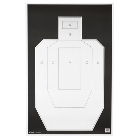 "Image of Action Target High Visibility IPSC-USPSA Paper Target 23"" x 35"" Ivory-Black 100 Pack"