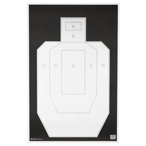 "Action Target High Visibility IPSC-USPSA Paper Target 23"" x 35"" Ivory-Black 100 Pack"
