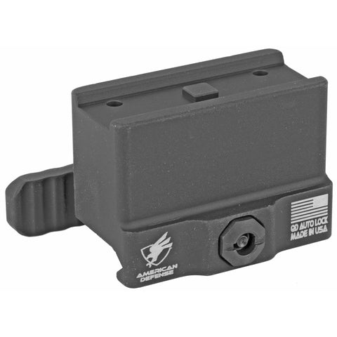 Image of American Defense MFG Aimpoint T1-T2-H1 Micro Mount Lower 1-3 Co-Witness Height QD Auto Lock Lever Aluminum Black