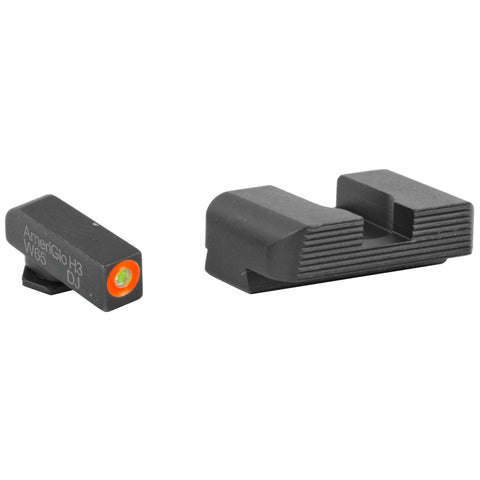 Image of Ameriglo Hackathorn Night Sight Set Glock 17, 19, 22, 23, 24, 26, 27, 33, 34, 35, 37, 38, 39 Gen 1, 2, 3, 4 Tritium Green Front with Orange Outline, Serrated Rear